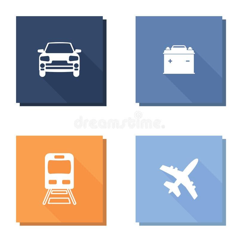 Grupo do ícone do vetor com ícone longo dos aviões ou do avião do ow do shadVector, ícone do metro Ícone do carro do vetor e bate ilustração royalty free