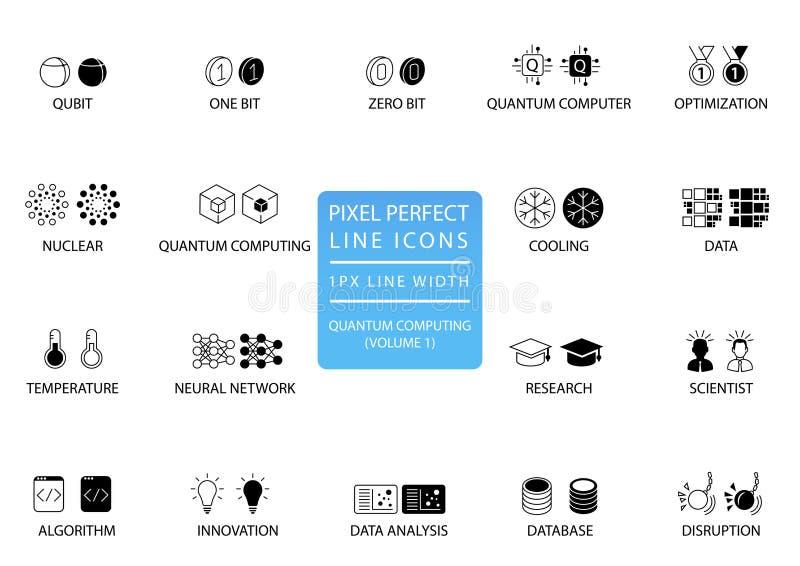 Grupo do ícone do vetor da computação de quantum aperfeiçoado para o uso da Web ilustração stock