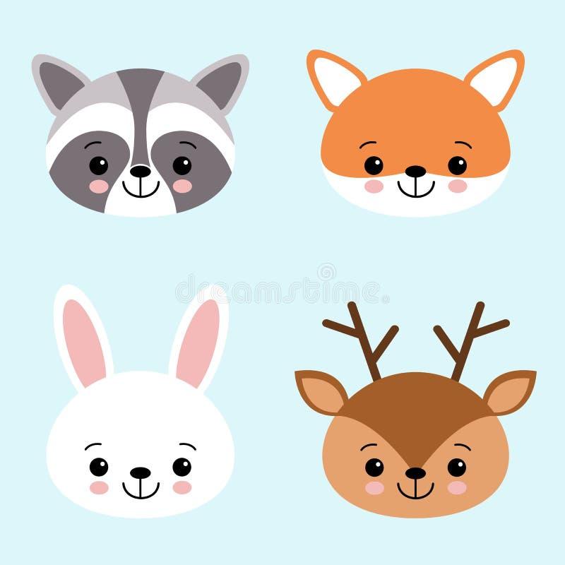 Grupo do ícone do vetor de animais bonitos lebre ou coelho branco, guaxinim, cervos e raposa da floresta ilustração do vetor
