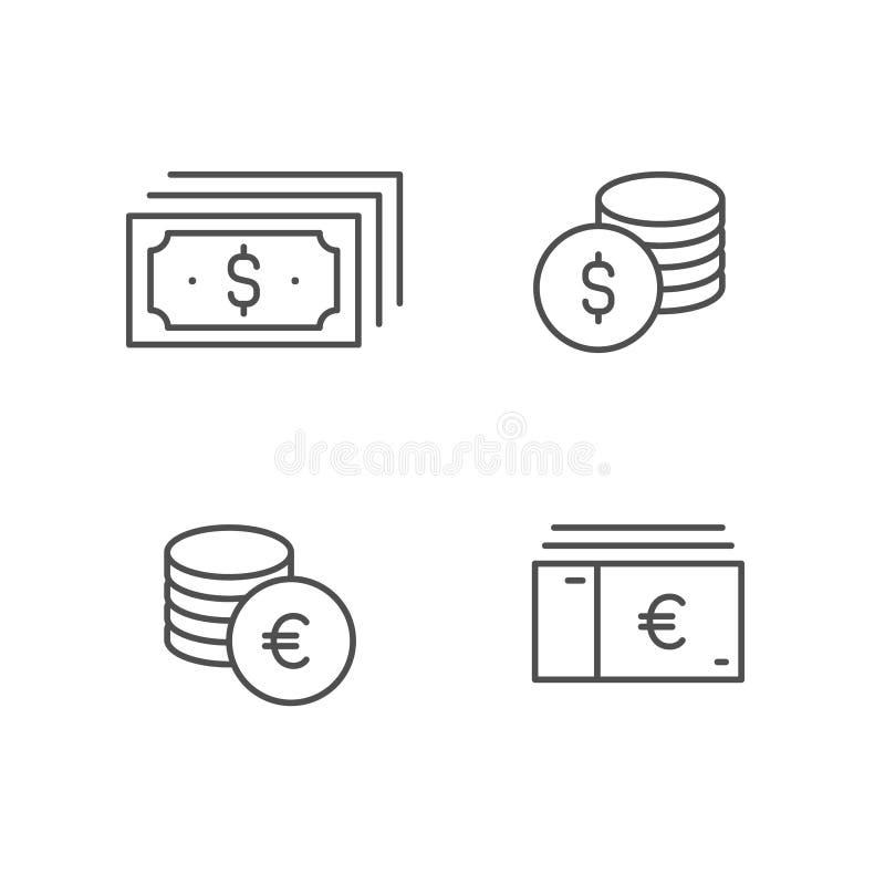 Grupo do ícone do vetor do dinheiro, linha coleção do dólar da conta da moeda euro- do sinal do esboço, projeto liso fino linear  ilustração stock