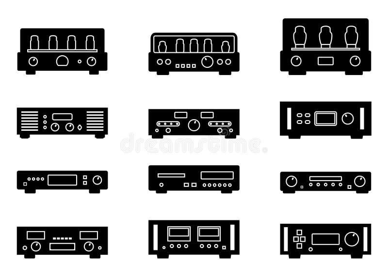 Grupo do ícone do vetor do equipamento audio Amplificador e leitor de cd ilustração royalty free