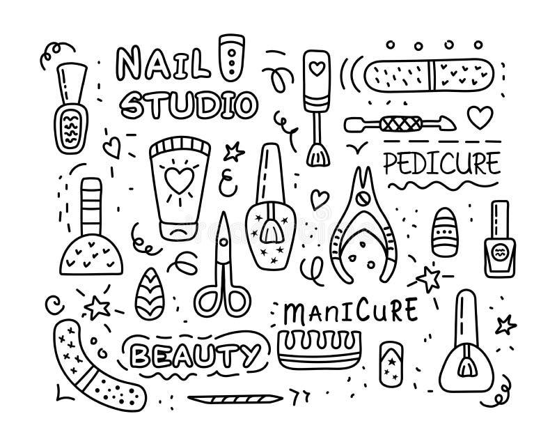 Grupo do ícone do vetor do estúdio do pedicure do tratamento de mãos do salão de beleza do prego ilustração royalty free