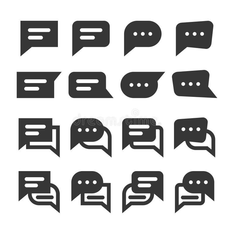Grupo do ícone do vetor do estilo do glyph das bolhas do discurso do bate-papo e dos balões do diálogo ilustração stock