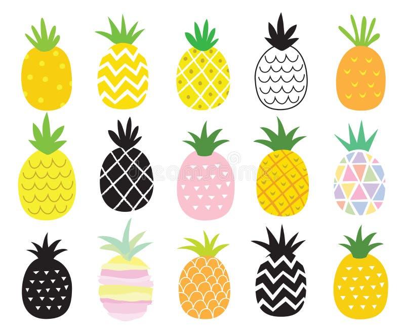 Grupo do abacaxi ilustração royalty free