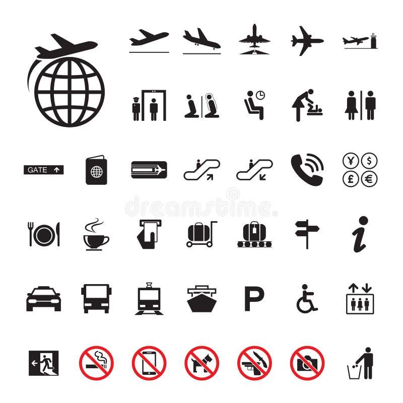 Grupo do aeroporto do ícone ilustração do vetor