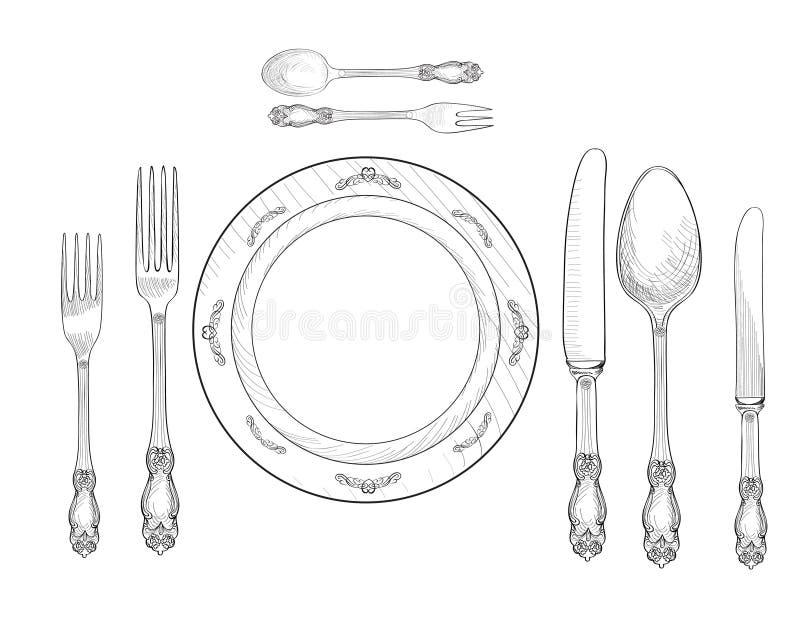 Grupo do ajuste da tabela Forquilha, faca, colher, grupo do esboço da placa cutlery ilustração do vetor