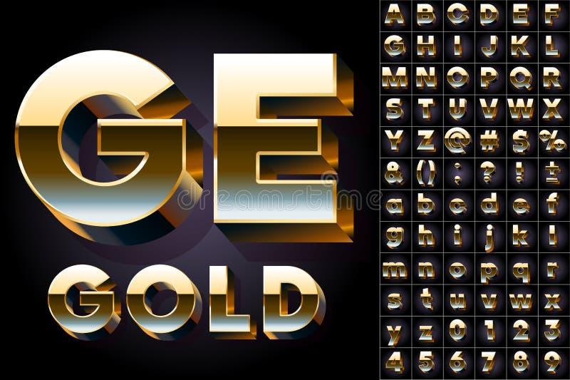 Grupo do alfabeto 3D dourado ilustração stock