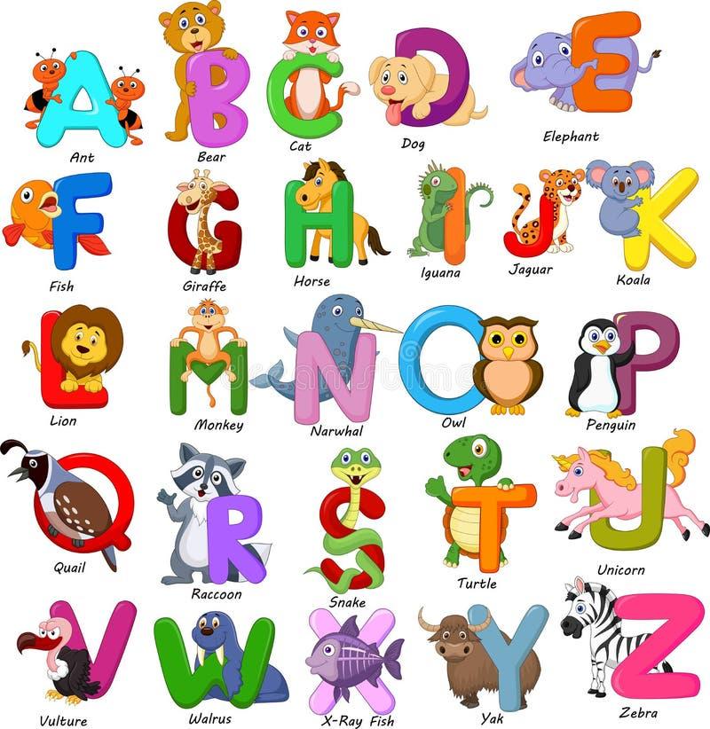 Grupo do alfabeto dos animais no fundo branco ilustração royalty free