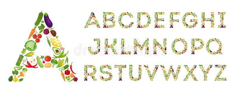 Grupo do alfabeto dos vegetais ilustração stock