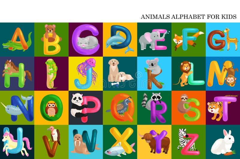 Grupo do alfabeto para letras das crianças, educação no pré-escolar, aprendizagem bonito dos animais do ABC do divertimento dos d ilustração stock