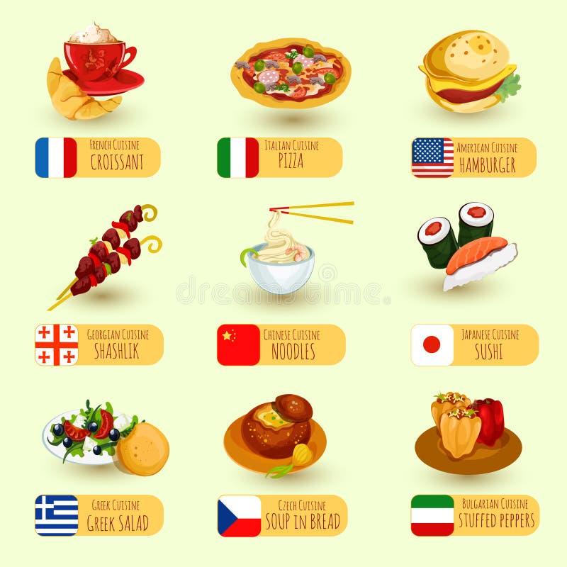 Grupo do alimento do mundo ilustração do vetor