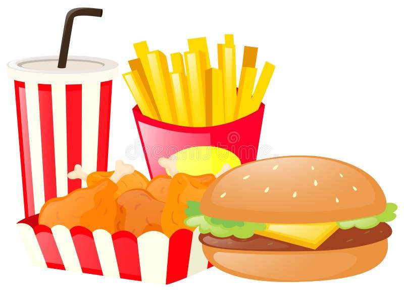 Grupo do almoço com Hamburger e fritadas ilustração royalty free