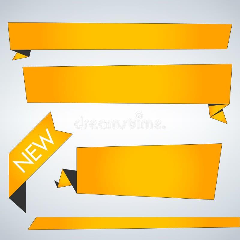 Grupo do amarelo de bandeiras da Web Moldes com lugar para o texto ilustração do vetor