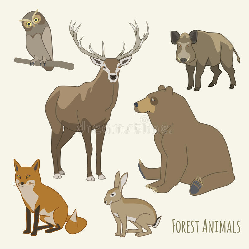 Grupo do animal da floresta imagem de stock royalty free
