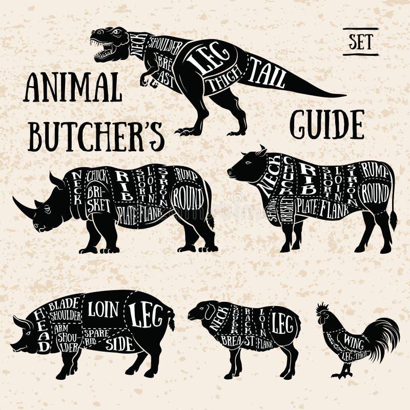 Grupo do animal da loja do açougue ilustração stock