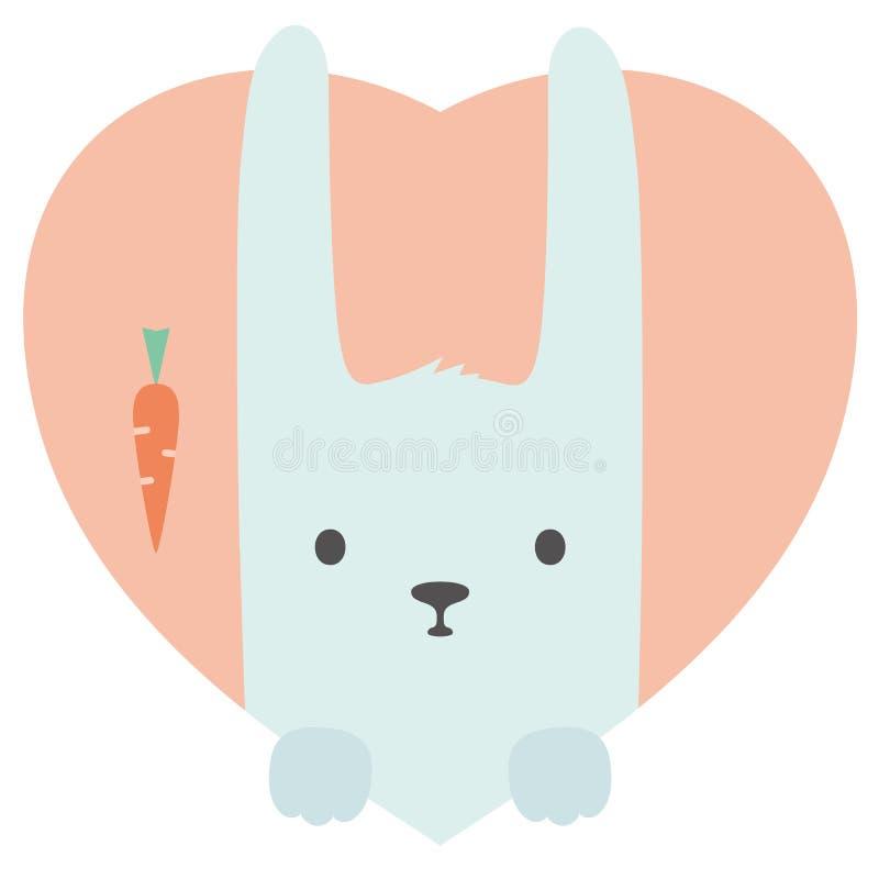 Grupo do animal Retrato de um coelho no amor no plano ilustração royalty free