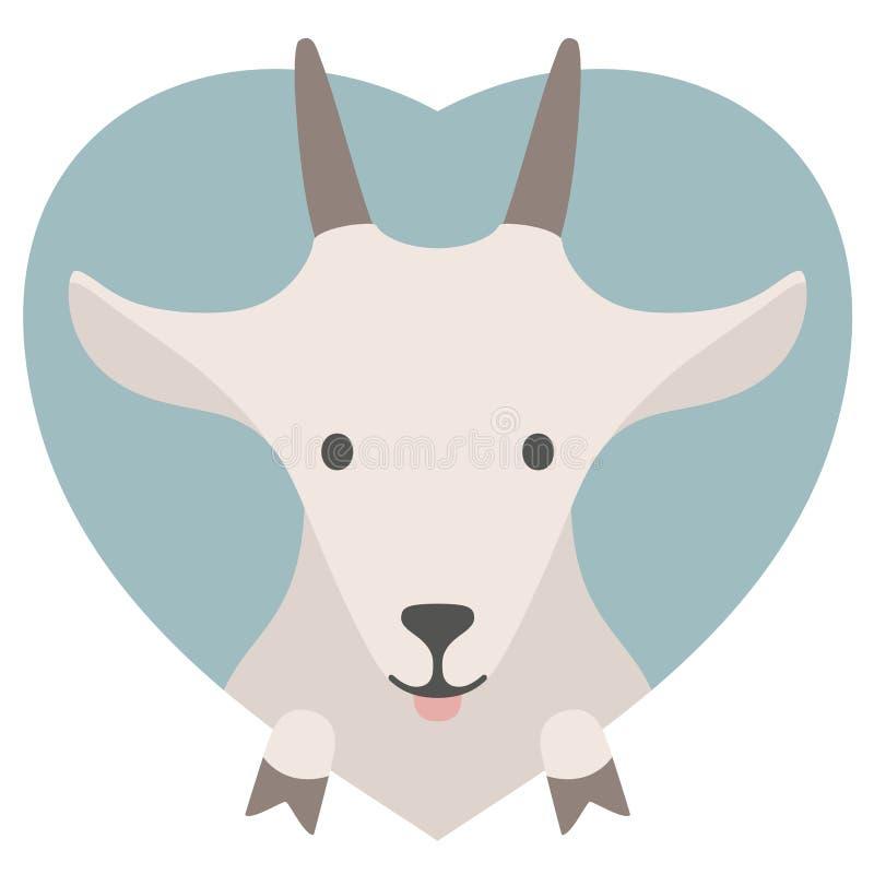 Grupo do animal Retrato de uma cabra no amor no plano ilustração royalty free