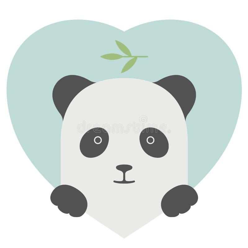 Grupo do animal Retrato de uma panda no amor sobre o coração ilustração stock