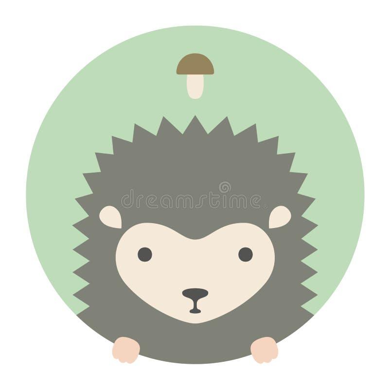Grupo do animal Retrato em gráficos lisos hedgehog ilustração stock