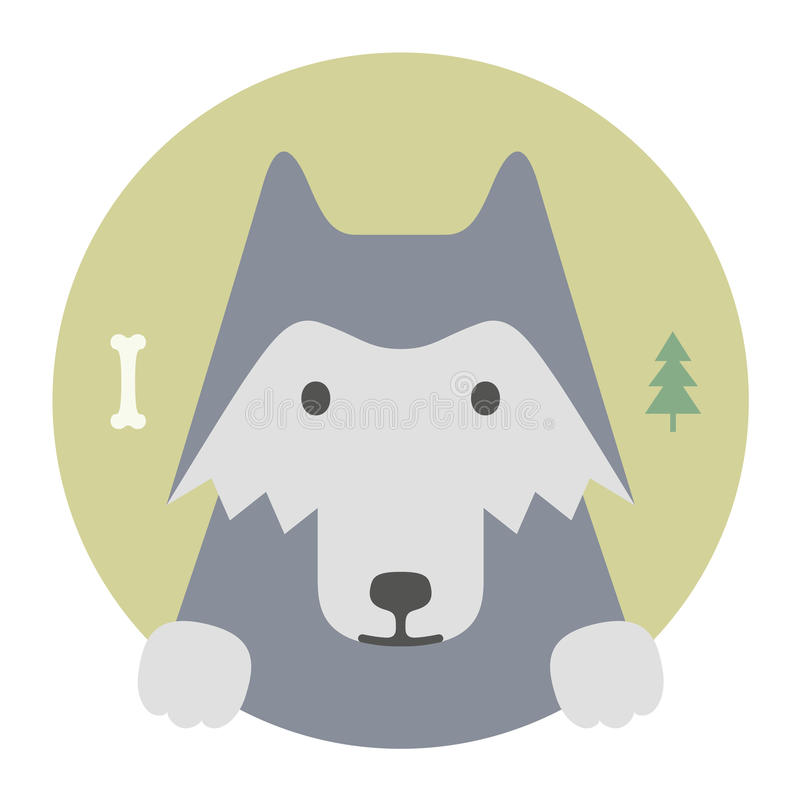 Grupo do animal Retrato em gráficos lisos Lobo ilustração royalty free