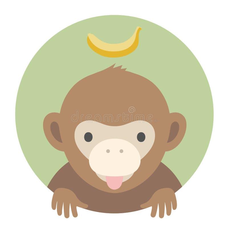 Grupo do animal Retrato em gráficos lisos - Monkey com banana Ilustração do vetor ilustração royalty free
