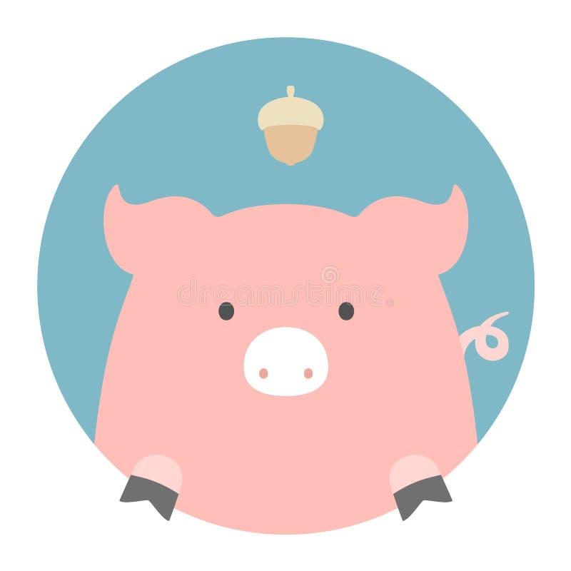 Grupo do animal Retrato em gráficos lisos - porco ilustração royalty free
