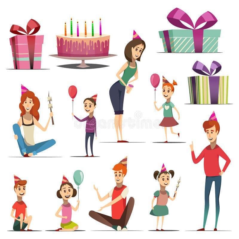 Grupo do aniversário da criança ilustração royalty free