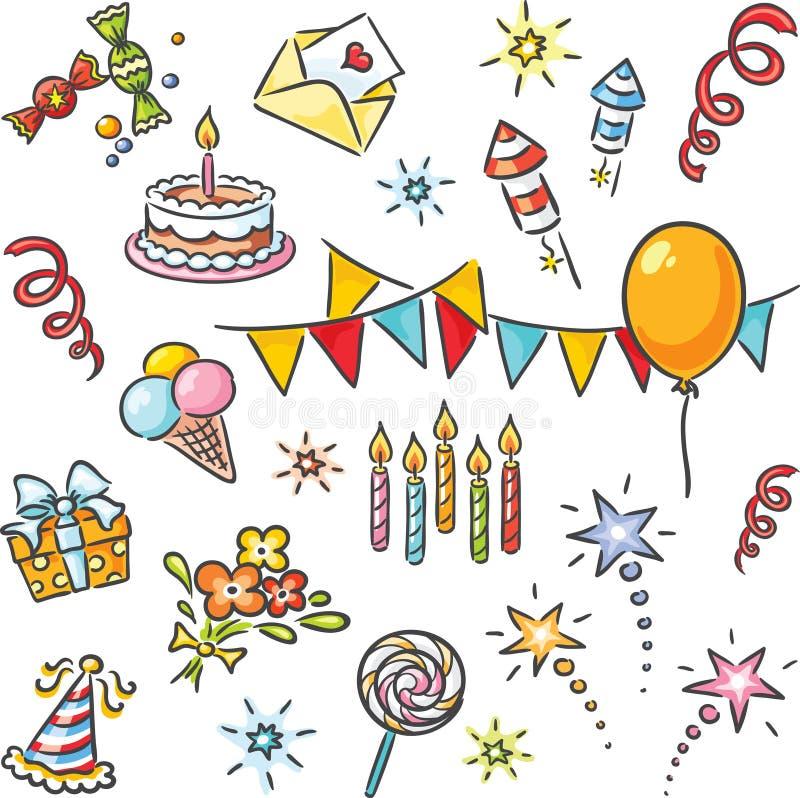 Grupo do aniversário dos desenhos animados ilustração royalty free