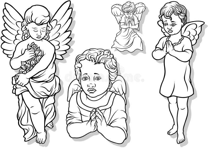 Grupo do anjo ilustração do vetor