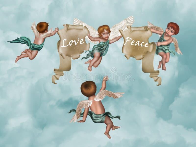 Grupo do anjo ilustração stock