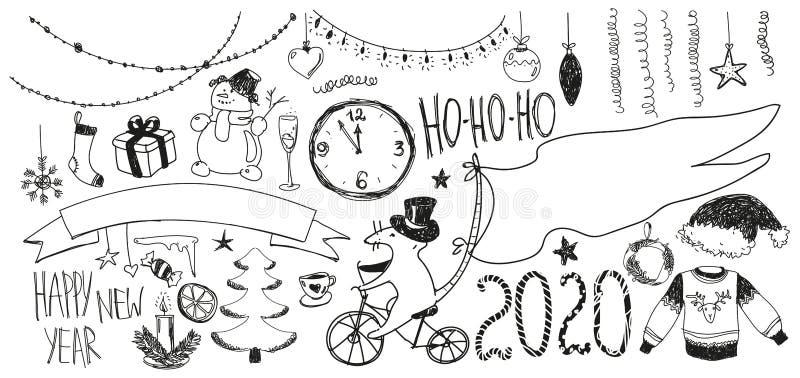 Grupo do ano novo da garatuja Ano novo feliz 2020 ilustração stock