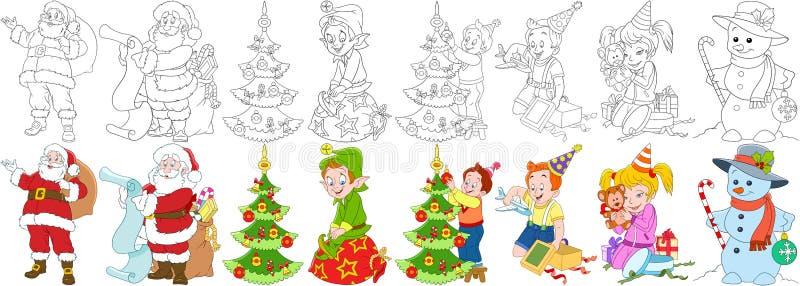 Grupo do ano novo dos desenhos animados ilustração royalty free