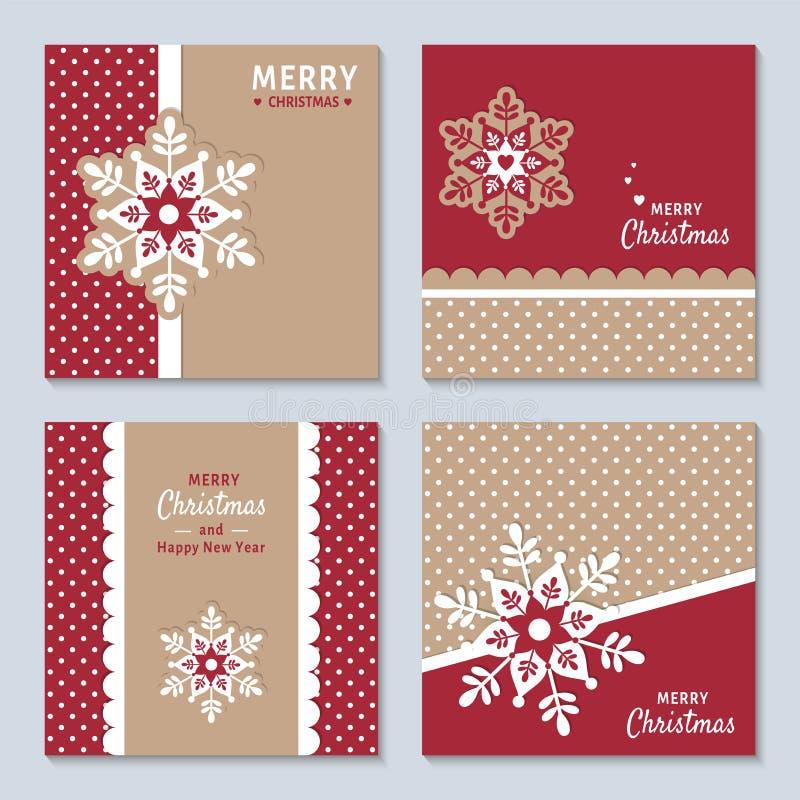 Grupo do ano novo e do Natal com os flocos de neve festivos decorativos Coleção de convites bonitos do Natal, cartões ilustração do vetor