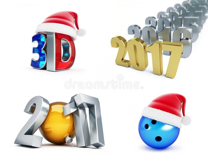 Grupo do ano novo feliz 2017, 3d filme, bola de boliches, ilustrações 3d ilustração do vetor