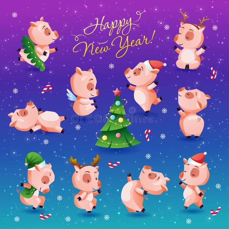 Grupo do ano novo feliz de leitão engraçados e bonitos Símbolo chinês do calendário de 2019 anos Coleção da ilustração do vetor ilustração royalty free