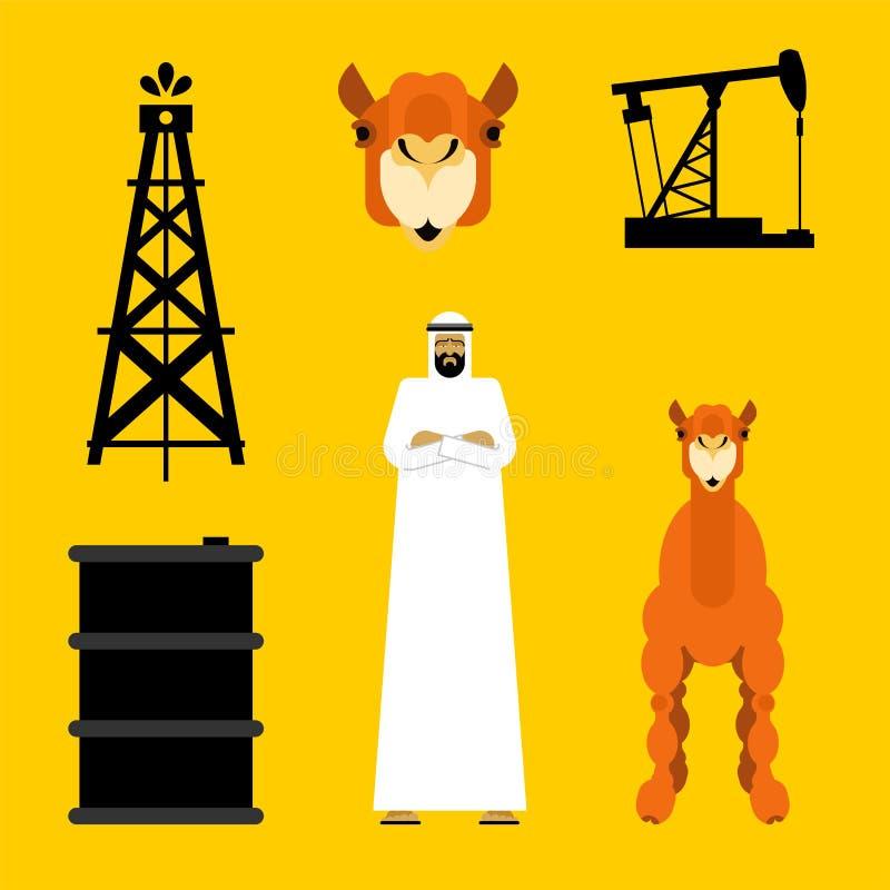Grupo do Arabian Bomba do árabe e de óleo Tambor e camelo da gasolina Indivíduo de OAE ilustração do vetor