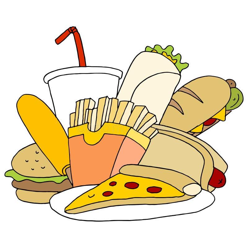 Grupo do artigo de fast food ilustração stock