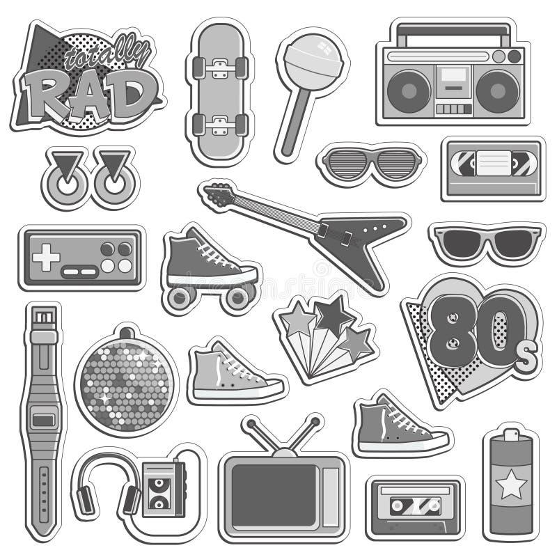 Grupo do artigo do estilo dos anos 80 do vintage ilustração do vetor