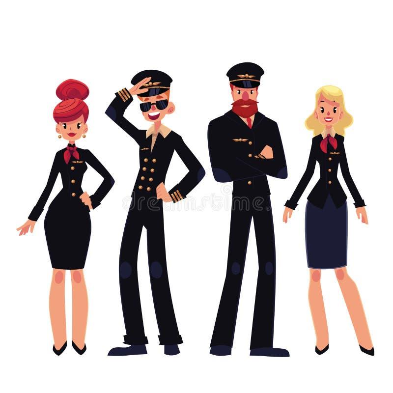 Grupo do avião dos pilotos e das comissárias de bordo, ilustração do vetor dos desenhos animados ilustração do vetor