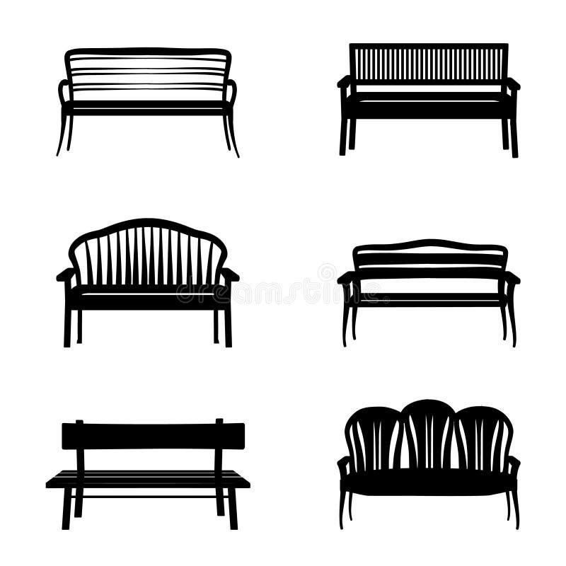 Grupo do banco O jardim benches a coleção da silhueta do ícone ilustração royalty free