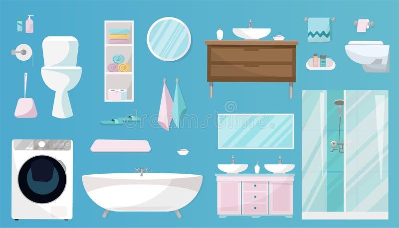 Grupo do banheiro de mob?lia, de arti'culos de tocador, de saneamento, de equipamento e de artigos da higiene para o banheiro O g ilustração stock