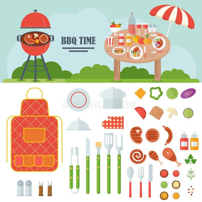 Grupo do BBQ de ferramentas e de alimento ilustração royalty free