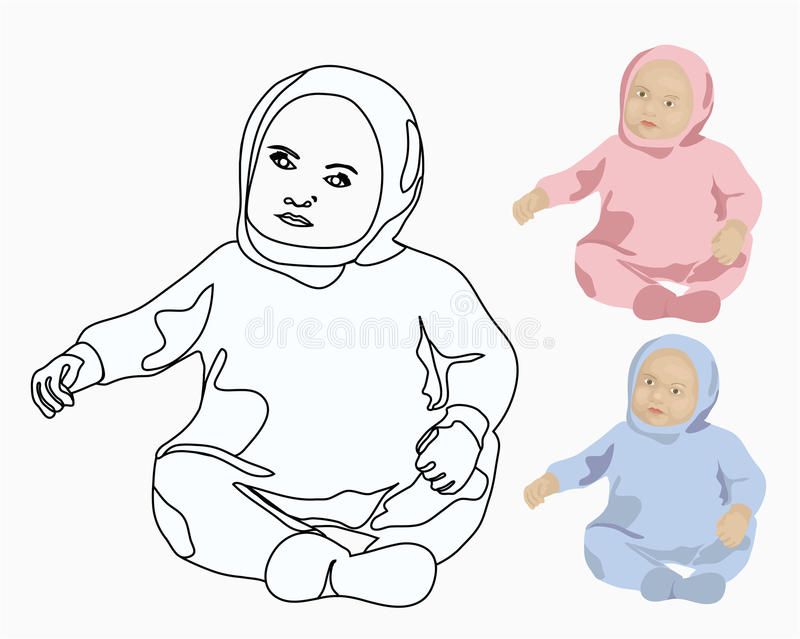 Grupo do bebê e do menino ilustração stock