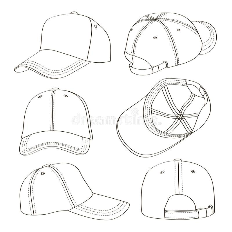 Grupo do boné de beisebol ilustração do vetor