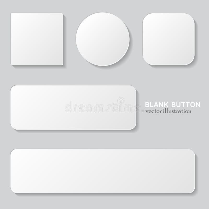 Grupo do botão vazio branco Circularmente, botões arredondados quadrados ilustração do vetor