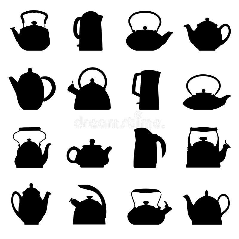 Grupo do bule do logotipo do vintage do vetor ilustração royalty free