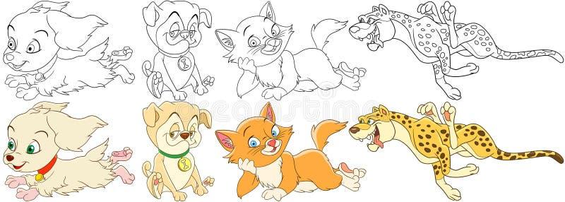 Grupo do cão do gato dos desenhos animados ilustração royalty free