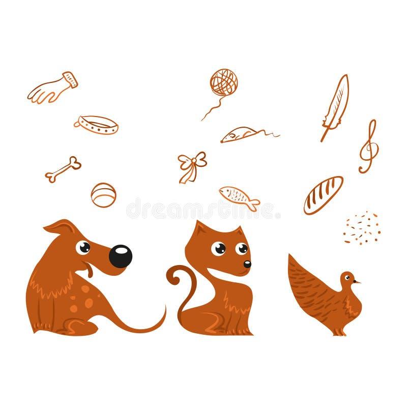 Grupo do cão, do gato e do pássaro ilustração do vetor