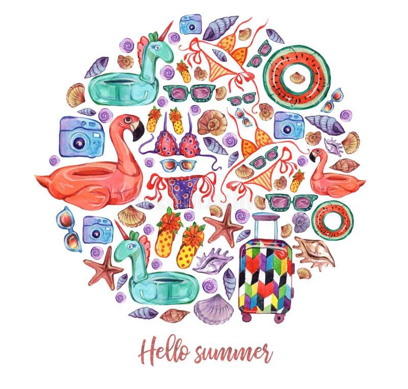 Grupo do círculo das férias de verão, elementos da aquarela ilustração do vetor