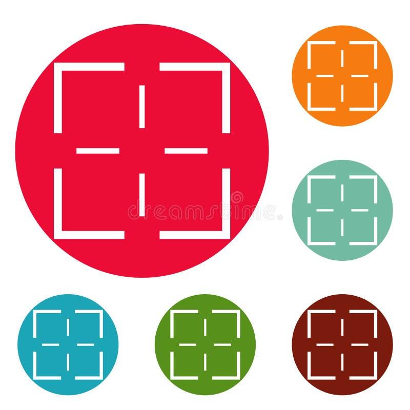 Grupo do círculo dos ícones da missão ilustração royalty free